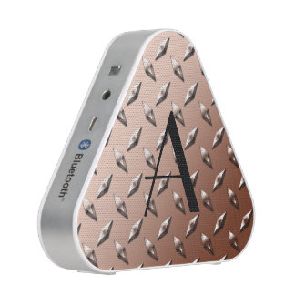 Brown diamond steel plate monogram speaker