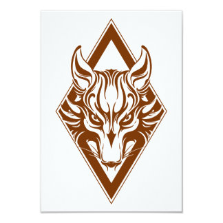 Brown Diamond Wolf Face Graphic Personalized Announcements