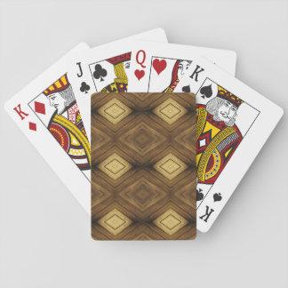 Brown Diamond Wood Pattern Poker Cards