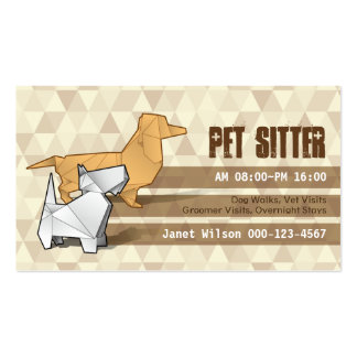 Brown Diamonds Pattern Origami Dogs Pet Sitting Business Card