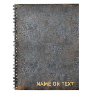 Brown Distressed Leather Look | Your Name Monogram Spiral Notebook