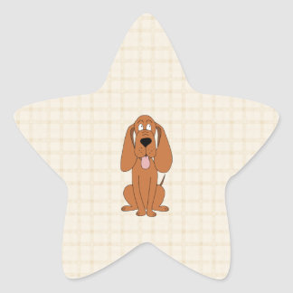 Brown Dog Cartoon. Hound. Star Sticker