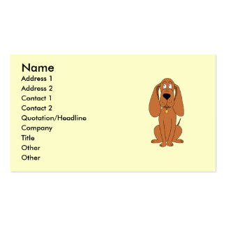 Brown Dog. Hound Cartoon with Collar. Business Card