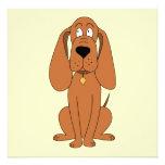 Brown Dog. Hound Cartoon with Collar. Custom Invite
