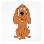 Brown Dog. Hound Cartoon with Collar. Custom Announcements