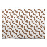 BROWN Dog Paws and Bones Custom Name and Sentimen Cloth Placemat