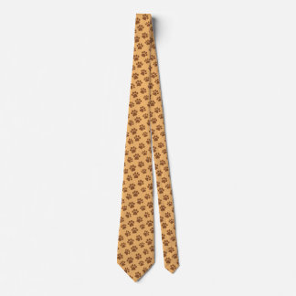 Brown Dog Paws Custom Background A01C Tie