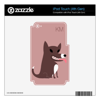 Brown Dog with Sharp Teeth-mongram Decals For iPod Touch 4G