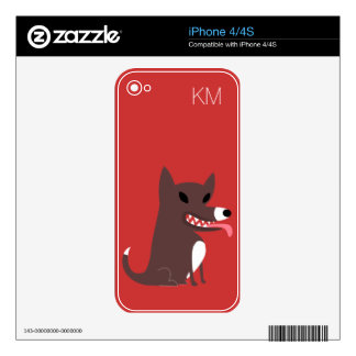 Brown Dog with Sharp Teeth-red Decal For iPhone 4