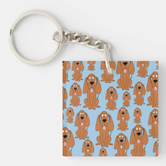 Brown Dogs on Light Blue. Single-Sided Square Acrylic Keychain