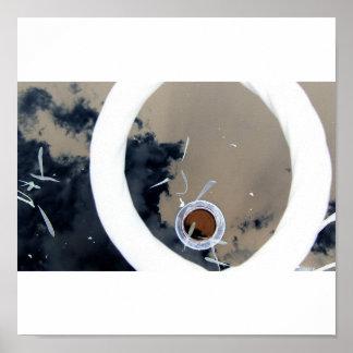brown dot white circle poster