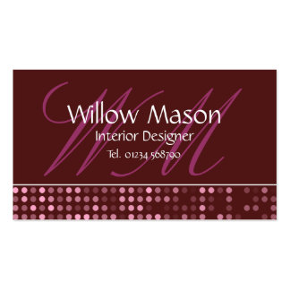 Brown Dots - Professional Monogram Business Card