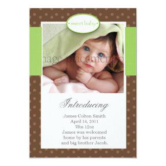 "Brown Dots Vertical Birth Announcement 5"" X 7"" Invitation Card"