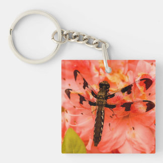Brown Dragonfly on Flower Keychain