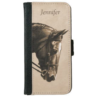 Brown Dressage Horse in Sepia Wallet Phone Case For iPhone 6/6s