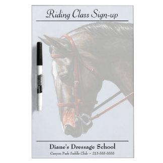 Brown Dressage Horse Portrait Dry Erase Board