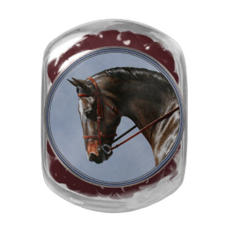 Brown Dressage Horse Portrait Jelly Belly Candy Jars
