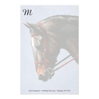 Brown Dressage Horse Portrait Stationery