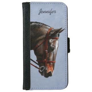 Brown Dressage Horse Portrait Wallet Phone Case For iPhone 6/6s
