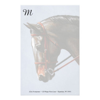 Brown Dressage Horse Stationery