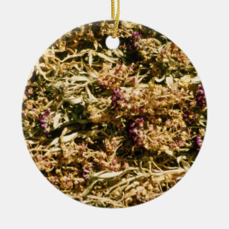 Brown Dried flowers flowers Double-Sided Ceramic Round Christmas Ornament