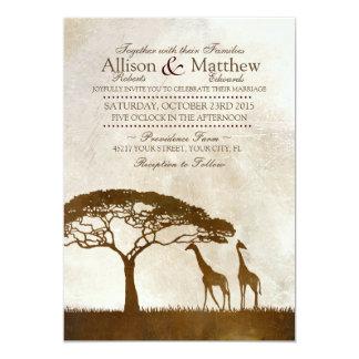 Brown e invitación africana de marfil del boda de