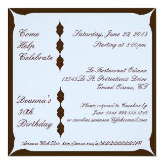 """Brown e invitaciones de encargo azules del invitación 5.25"""" x 5.25"""""""