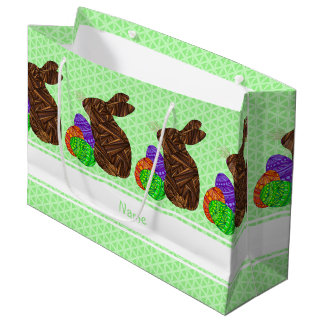 Brown Easter Bunny Colorful Personalized Large Gift Bag