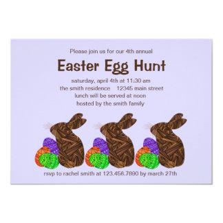 Brown Easter Bunny Easter Egg Hunt Party Custom Invites