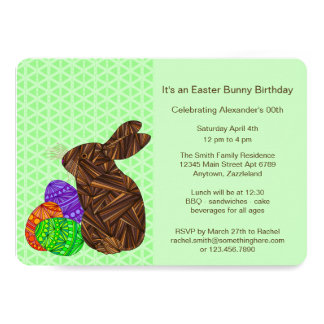 Brown Easter Bunny Easter Eggs Colorful Rabbit Fun Card
