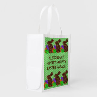 Brown Easter Bunny Easter Eggs Colorful Rabbit Fun Reusable Grocery Bag