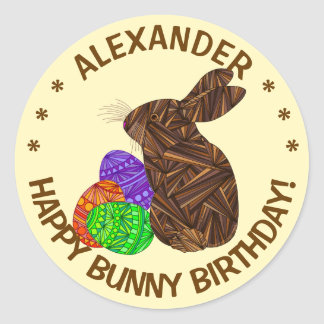 Brown Easter Bunny Easter Themed Birthday Party Classic Round Sticker