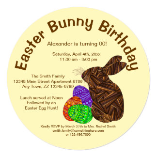 Brown Easter Bunny Fun Easter Bunny Birthday Party Card