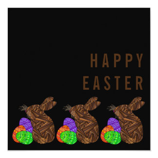 Brown Easter Bunny Happy Easter Brunch Party Card