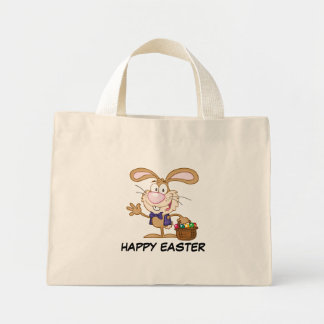 Brown Easter Bunny with Basket of Eggs Mini Tote Bag