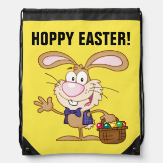 Brown Easter Bunny with Basket of Eggs Drawstring Bags