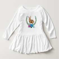 Brown Easter Bunny Wreath and Easter Eggs Dress