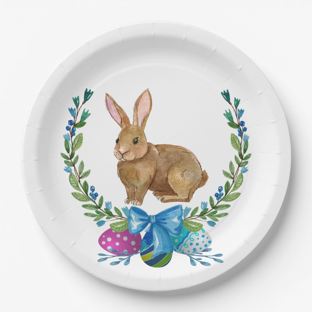 Brown Easter Bunny Wreath and Easter Eggs Paper Plate