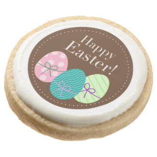 Brown Easter Eggs Happy Easter Round Shortbread Cookie