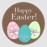 Brown Easter Eggs Happy Easter Stickers