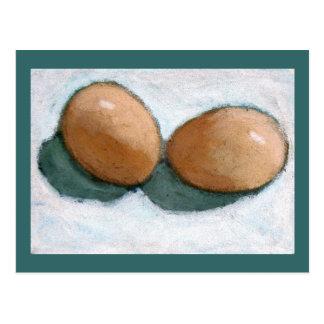 BROWN EGGS IN PASTEL POSTCARD
