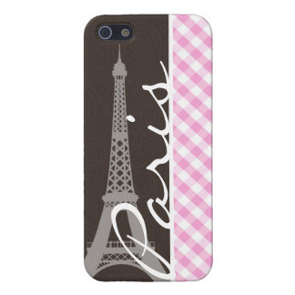 Brown Eiffel Tower & Pink Plaid iPhone 5 Cases