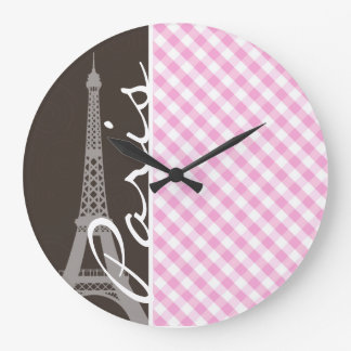 Brown Eiffel Tower & Pink Plaid Large Clock