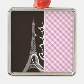 Brown Eiffel Tower Pink Plaid Christmas Ornament