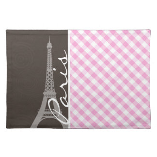 Brown Eiffel Tower & Pink Plaid Place Mats