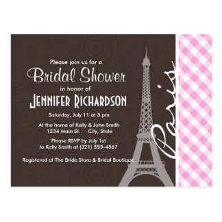 Brown Eiffel Tower & Pink Plaid Postcard