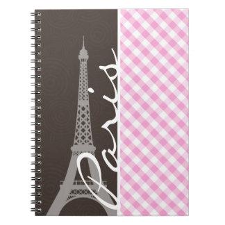 Brown Eiffel Tower & Pink Plaid Spiral Notebooks