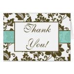 Brown/el boda floral azul del damasco le agradece  tarjetas