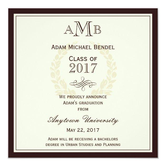Brown Elegant Monogram Graduation Announcement (front side)