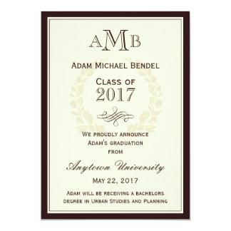 """Brown Elegant Monogram Graduation Announcement 5"""" X 7"""" Invitation Card"""